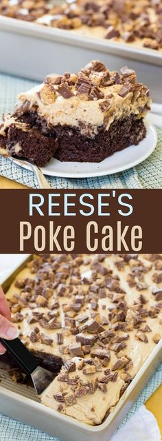 Reese's Poke Cake - an easy dessert recipe loaded with chocolate, peanut butter, and peanut butter cups! Perfect for parties and potlucks! for parties Reese's Poke Cake 13 Desserts, Brownie Desserts, Chocolate Desserts, Peanut Butter Chocolate Cake, Chocolate Poke Cakes, Desserts For Potluck, Chocolate Box, Easy Desserts For Thanksgiving, Resses Peanut Butter Cups