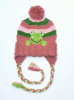 Kids Winter Hat Frog Hat Knit Earflap Hat Pom Pom Hat by 2mice