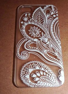 BOHEMIAN WHITE HENNA PAISLEY IPHONE 5 5S CLEAR PHONE CASE*