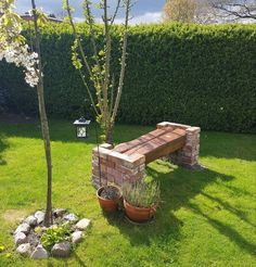 our garden bench made of two wooden beams and clinker bricks (new weather protection . our garden bench made of two wooden beams and clinker bricks (new weather protection on it). White Garden Bench, Concrete Garden Bench, Brick Planter, Brick Garden, Garden Benches, Garden Bed Layout, Rustic Outdoor Furniture, Building Raised Garden Beds, Backyard Landscaping