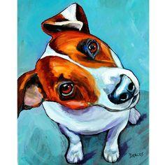 Jack Russell Looking Up chien Art peinture originale par Dottie Dracos, Jack Looking Up vente de toile 12 x 16 !