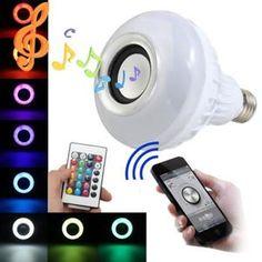 12W E27 LED Ampoule RGB Bluetooth APP Control Haut-parleur Wireless 24 IR Remote