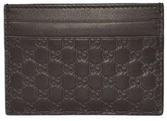 New Gucci Men's 262837 Brown Leather Micro GG Guccissima Small Card Case #Gucci #CardCase