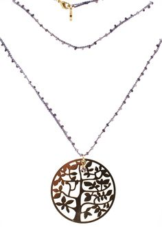 String Necklace with Purple Beads and Tree Gold Plated Charm