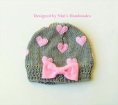 Grey Hat and Pink HEARTS Girls Beanie girls by NinisHandmades