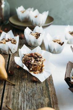 Hazelnut Pear and Chocolate Muffins | My Goodness Kitchen