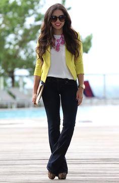Yellow blazer, bootcut jeans