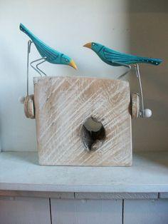 Double pecking birds on oak base by OPISHOP on Etsy, £48.00