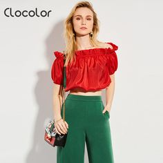4958d602fbefe3 Clocolor Women Blouse Red Slash Neck Falbala 2017 New Sweet short fashion  Girls Style Ruffles Summer