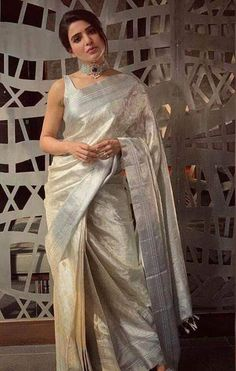 Designer Kanjivaram Silk Saree The post Designer Kanjivaram Silk Saree appeared first on ThealiceOnline. Silk Saree Blouse Designs, Saree Blouse Patterns, White Saree Blouse, Off White Saree, New Saree Designs, Indian Beauty Saree, Indian Sarees, Saris, Anarkali