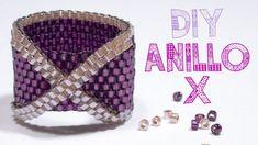 : Peyote ring with miyuki and swarovski beads beadng tutorial Peyote Beading, Tutorial Anillo, Ring Tutorial, Beads Tutorial, Bead Jewellery, Bead Earrings, Beaded Bracelets, Beaded Jewelry, Beading Tutorials