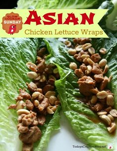 Another EASY crockpot meal! Crockpot Asian Chicken Lettuce Wraps are a new family favorite. Slow Cooker Recipes, Crockpot Recipes, Chicken Recipes, Healthy Recipes, Recipe Chicken, Delicious Recipes, Clean Eating Snacks, Healthy Eating, Asian Chicken Lettuce Wraps