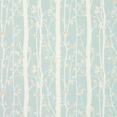 Cottonwood Floral Linen/Cotton Fabric Duck Egg