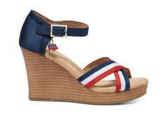 Take the pledge to step out & VOTE—and inspire others to do the same! These Strappy Wedges feature red, white and blue stripes and removable donkey and elephant charms so you easily can customize your look.
