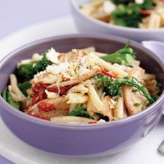 Chicken pasta with broccolini, roasted capsicum and feta