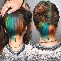 : Hair Blue and Orange Colorful Peekaboo Hair! : Hair Blue and Orange Hair Color Pink, Hair Color For Black Hair, Cool Hair Color, Brown Hair Colors, Hair Colours, Dope Hairstyles, Pretty Hairstyles, Pink Peekaboo Hair, Hair Highlights