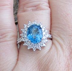 Blue Topaz and Diamond Stunning Statement Ring -Intense Color, Photos Don't Do This Justice! GIA Appraisal 2,480 USD Included! by Ringtique on Etsy