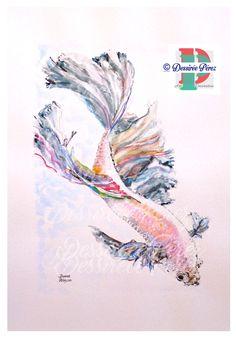 #bettafish #bettasplendens #pezbetta #Pesce combattente #WatercolorPainting  #acquerello #Art #Print #WallArt #Homedecor A3 Dessirée Pérez copyrights