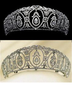 The gorgeous diamond drop and wreath tiara, by Cartier 1910, also once graced the head of a noble lady of Britain, but was bought some time ago by Albion Arts, Japan.