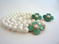 White Aqua Flower Necklace Earrings Set Signed Hobe