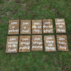Set of 10 Wedding Aisle Signs 1 Corinthians 13 Wedding Signs Love is Patient Love is Kind Hand Painted Wood Wedding Signage Love Signs by ThePeculiarPelican Wood Wedding Signs, Wedding Welcome Signs, Wedding Signage, Rustic Wedding, Wedding In The Woods, Our Wedding, Wedding Ideas, Wedding Stuff, Wedding Planning