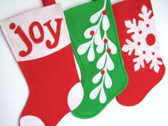 Mistletoe Modern Christmas Stocking  Choose Your by stitcholicious, $18.00