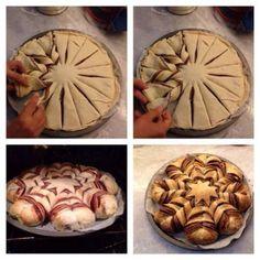 Braided Nutella Bread  Ziet er zo mooi uit als het klaar is! Klik op de originele link voor het recept. Maar misschien is dit ook wel op een makkelijkere manier te maken.