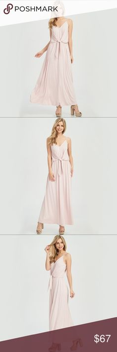 Striped Tie Waist Maxi Dress @blushonme at Poshmark  Featuring a soft, lightweight, flowy striped maxi dress - Blush/White.  ALSO AVAILABLE IN BABY BLUE/WHITE !  True to size  🏷️ Price is Firm  🌸 No Return/ Exchanges. Please ask questions before buying. 🌸 Dresses Maxi
