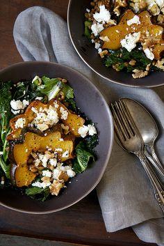 Warm Farro & Mustard Green Salad with Maple Roasted Acorn Squash, Feta and Walnuts by Nicole Franzen Photography, via Flickr