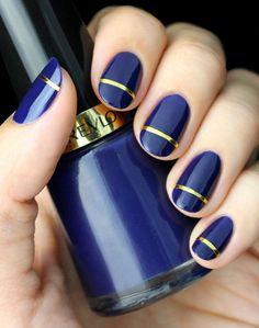 Gold Strip Indigo Blue Nail Art - Gorgeous