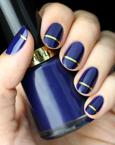 Gold Strip Indigo Blue Nail Art - Gorgeous