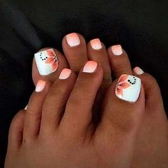 21 beautiful wedding pedicure ideas for brides: summer wedding nail art; Pretty Toe Nails, Cute Toe Nails, My Nails, Coral Ombre Nails, Blue Nail, Pretty Toes, Toe Nail Color, Toe Nail Art, Nail Colors