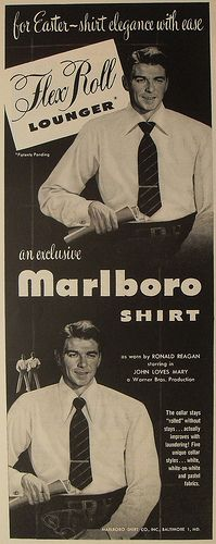 1940s Vintage Movie Poster RONALD REAGAN menswear shirts Marlboro men's fashion illustration ADVERTISEMENT Hollywood by Christian Montone, via Flickr