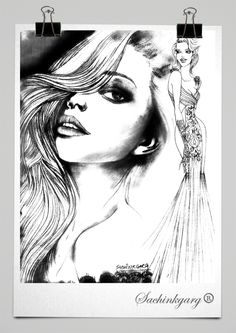 All Pencil sketches are portraits and fashion looks. Pencil Drawings Of Girls, Easy Drawings, Beautiful Girl Sketch, Mermaid Illustration, Face Sketch, Girls Hand, Today Show, Drawing People, Anime Manga