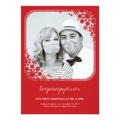 Mr and Mrs First Christmas Wedding Snowflakes Card
