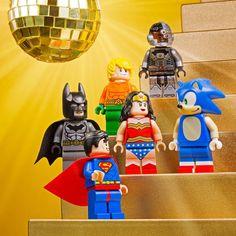 One of these things is not like the other... #LEGODimensions #DCComics #Batman #Superman #WonderWoman #Aquaman #Cyborg #SonicTheHedgehog