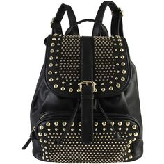Womens Diophy Studded Zippered Backpack ($30) ❤ liked on Polyvore featuring bags, backpacks, black, zippered faux leather backpack, rucksack bag, vegan leather bags, zipper bag and day pack backpack
