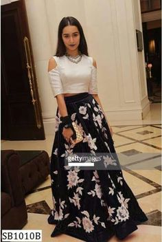 Shradha Kapoor Skirt in 9 colors. Skirt with white threadwork all over. Fabric is silk. Note: Measurements and color details will be requested by email afte