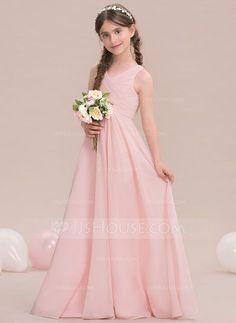 A-Line/Princess V-neck Floor-Length Ruffle Zipper Up Regular Straps Sleeveless Pearl Pink Chiffon Junior Bridesmaid Dress
