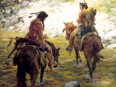 Native Americans on horseback ~ Howard Terpning, artist Native American Horses, Native American Warrior, Native American Paintings, Native American Pictures, Indian Pictures, Native American Artists, Indian Paintings, American Indians, Western Artists