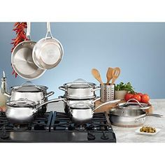 Kirkland Signature™  18/10 Stainless Steel  13-piece Cookware Set  Stainless Steel Bodies and Lids,  Cast Stainless Steel Fittings,  Gift Boxed  Item # 559728  $190