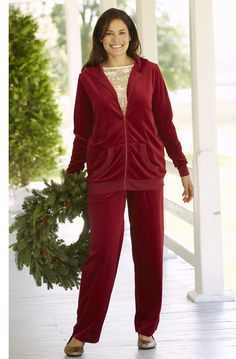 You'll adore this velour knit pants suit on a snowy day from #womanwithin #plussize