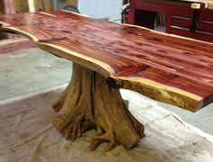 Live edge cedar stump dining table