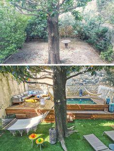 Small Backyard Design, Small Backyard Landscaping, Backyard Pool Designs, Backyard Ideas, Patio Ideas, Backyard Renovations, Raised Deck, Hammocks, Landscape Design