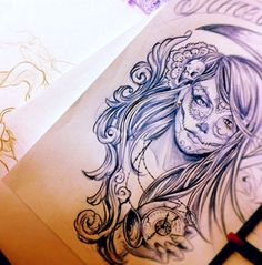 sugar skull..amazing! she will be slightly more gypsy-like though. with a lion underneath kinda - half-sleeve