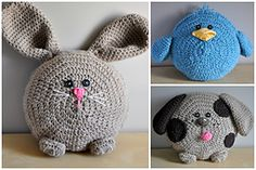 So cute!  The kids would love these =) Ravelry: Spring Pals Pillow Pack pattern by Sincerely Pam