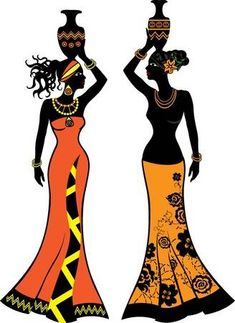 afrikanische frauen Vector - Beautiful African woman with vases, two versions Beautiful African Women, African Beauty, African Fashion, Ankara Fashion, African Style, Afro Chic, Afrique Art, African Art Paintings, Afro Art