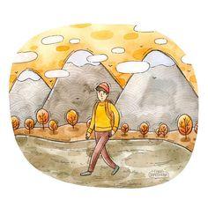 "Tania Samoshkina / illustrator on Instagram: ""November Hike 🌳"" Cartoon Pics, Cute Cartoon, Boy Drawing, Illustrators On Instagram, Love Craft, Journal Inspiration, My Arts, Hiking, Watercolor"