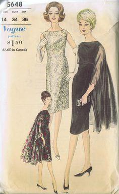 VINTAGE DRESS STOLE CAPE SEWING PATTERN 5648 VOGUE SIZE 14 BUST 34 HIP 36 UNCUT | eBay