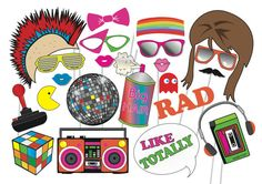 80's Retro Photo booth Party Props Set - 24 Piece PRINTABLE - 1980s era PhotoBooth Props, instant download